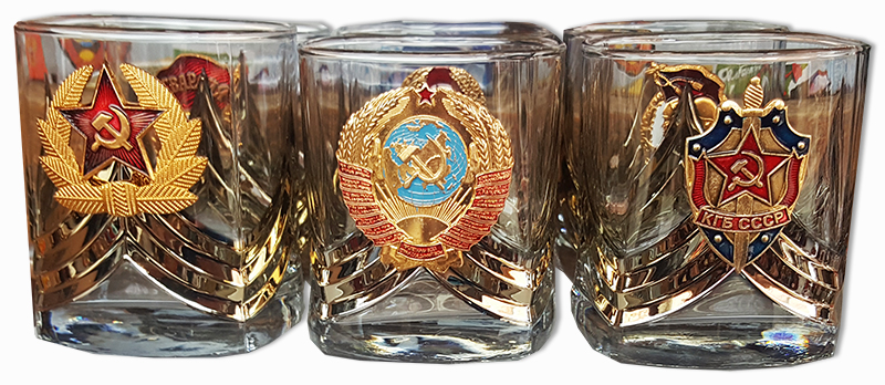 Ware set of glasses of whiskey with symbols of the USSR 6 PCs.