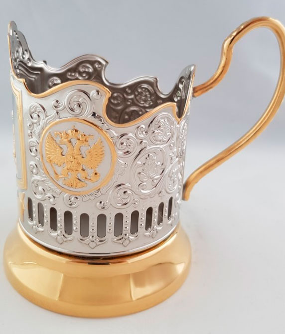 Cup holder St. George the Victorious, tea set, gilt. cup holder and glass with spoon