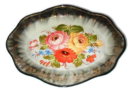 Zhostovo tray small white, d - 19 cm/
