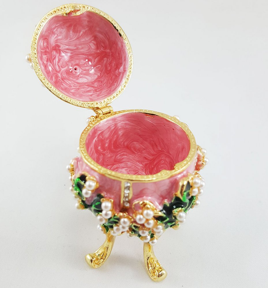 Copy Of Faberge 1979-003 egg jewelry box, pink