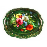 Zhostovo tray small green 22x17