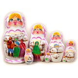 Nesting doll Sergiev-Posad 7 pcs. Fairy Tales White