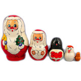 New Year and Christmas matrioshka matrioshka 5 pcs. Santa Claus