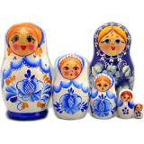 Nesting doll Sergiev-Posad 5 pcs. Gzhel
