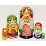 Nesting doll Sergiev-Posad 5 pcs. Girl with Pig