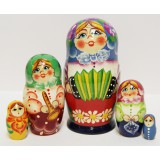 Nesting doll Sergiev-Posad 5 pcs. Girl with accordion