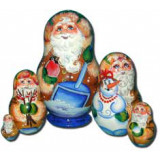 Nesting doll Sergiev-Posad 5 pcs. Old man with a bullfinch