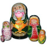 Nesting doll Sergiev-Posad 5 pcs. Old man with a samovar