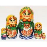 Nesting doll Sergiev-Posad 5 pcs. Girl with a  kitten