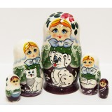 Nesting doll Sergiev-Posad 5 pcs. Girl with a Dalmatian dog