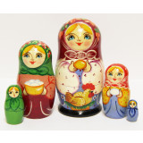 Nesting doll Sergiev-Posad 5 pcs. Girl with a hen