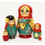 Nesting doll Sergiev-Posad 5 pcs. balalayka yelow