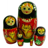 Nesting doll Sergiev-Posad 5 pcs. cats small