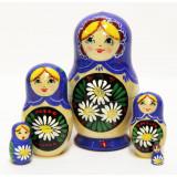 Nesting doll Sergiev-Posad 5 pcs. Camomiles blue