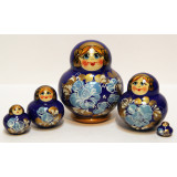 Nesting doll Sergiev-Posad 5 pcs. MNA blue