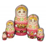 Nesting doll Sergiev-Posad 5 pcs. Basket of apples