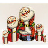 New Year and Christmas matrioshka nesting doll 5 pcs. Santa Claus big