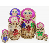 Nesting doll 5 pcs. Woodburn flowers