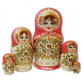 Nesting doll 5 pcs. burnt, pink flowers handkerchief
