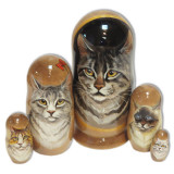 Nesting doll 5 pcs. Cats