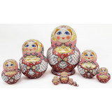 Nesting doll Sergiev-Posad 10 pcs. Red Shawl