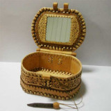 birch bark products box With a mirror inside