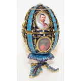 Copy Of Faberge 114-0142-7 Egg easter with portraits, dark blue