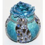 Copy Of Faberge JD0355 Box, openwork rose, dark blue