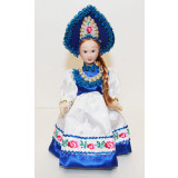 Doll handmade porcelain H-8676A  Doll porcelain in a blue kokoshnik...