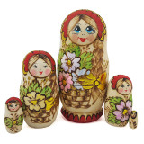 Nesting doll 5 pcs. camomile burnt