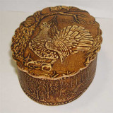 birch bark products box Oval vertical, the Wood-grouse, 11x8x3 cm.