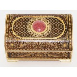 birch bark products box Chest with a stone the small 9.5 x 6 x 6 cm