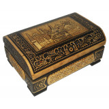 birch bark products box Chest big carved, Moscow, 12x8x6 sm