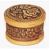 birch bark products box Box round, Flowers, 6,5 x 4.5 cm.