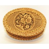 birch bark products box Box oval with a braid, Flowers