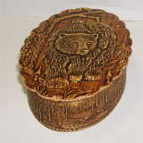 birch bark products box Oval vertical, the Bear, 11x8x3 cm.