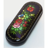 Lacquer Box Flowers of Zhostovo, hand painted, (metal, plastic),...