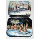 Lacquer Box Fedoskino Kinds of Moscow 13x10x3 cm. 1 pcs.