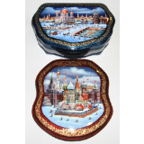 Lacquer Box Fedoskino St. Bazils Cathederal or Kinds of Moscow in...