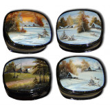 Lacquer Box Fedoskino Landscape winter, summer