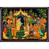 Lacquer Box Palekh Farytale of Pushkin, size 15 x 20 cm.