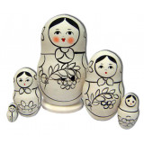 Nesting doll prepared for paint, prepared for paint, Mountain ash, 10
