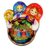 Magnet 02-34-3KR-250 round 3 nested dolls pitch, Palekh, a round...