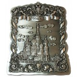 Magnet metal 027-5ATN-18  relief Moscow St.Basil Cathedral  silver