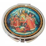 "Pocket mirror 08CHE-34-273 metal flat D7 ""Palekh..."