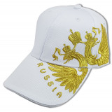 Headdress Baseball cap Coat of arms of Russia embroidery, white