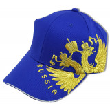 Headdress Baseball cap Coat of arms of Russia embroidery, blue