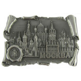 Magnet metal 027-4ATN-19K24 scroll with print Moscow Cathedrals silver
