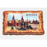 Magnet wooden Wooden with a leather, St. Basil's Cathederal.