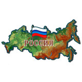 Magnet wooden Russia map physical, a flag of Russia